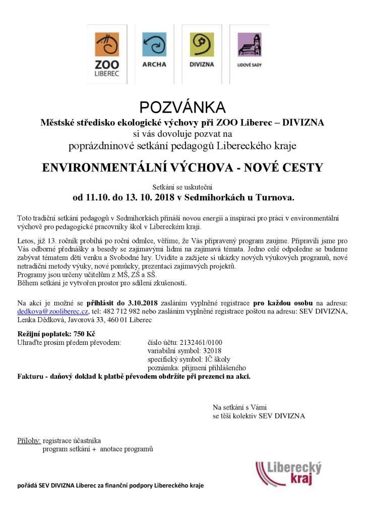 Environmentalni Vychova Nove Cesty 2018 Ekovychova Libereckeho Kraje
